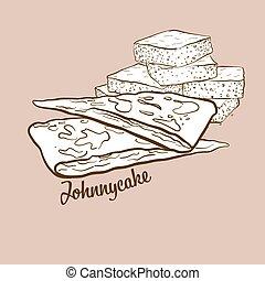 Hand-drawn Johnnycake bread illustration. Flatbread, usually...