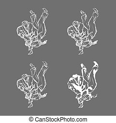 Hand Drawn Judo Throw Isolated Vector