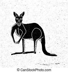 Hand drawn kangaroo