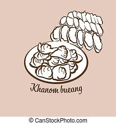 Hand-drawn Khanom bueang bread illustration. Flatbread, ...