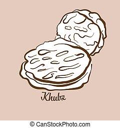 Hand-drawn Khubz bread illustration. Flatbread, usually ...