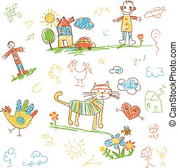 Hand-drawn kids doodle. Set. Funny character