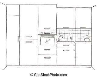 Hand drawn kitchen furniture. Vector illustration in sketch...