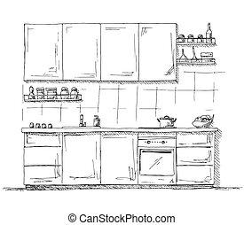Hand drawn kitchen furniture. Vector illustration in sketch style