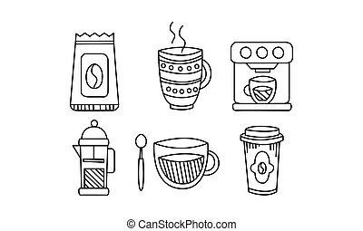 Hand drawn kitchen utensils set, coffee pot, mug, coffee machine, disposable paper cup vector Illustration
