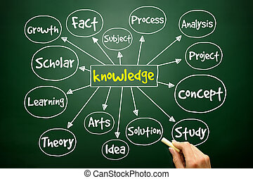 Hand drawn Knowledge mind map, business concept on blackboard