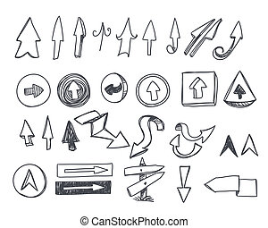hand-drawn, komplet, strzały