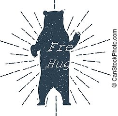 "Hand drawn label grizzly bear vector illustration and ""Free Hugs!"" inspirational lettering."