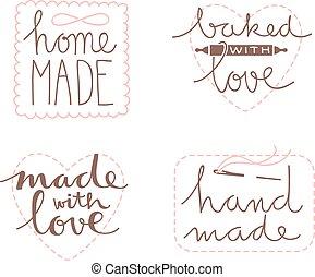hand drawn label set