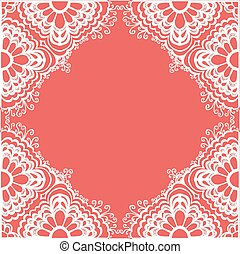 hand-drawn lace ornament, pink abstract background