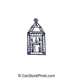 Hand drawn lantern with candle isolated on white background