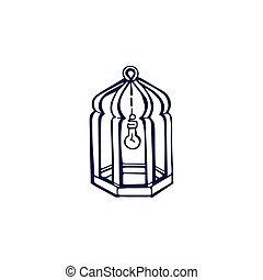 Hand drawn lantern with lightbulb isolated on white background