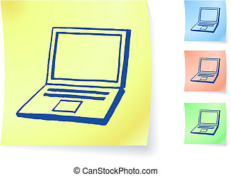 Hand-drawn laptop computer on sticky note
