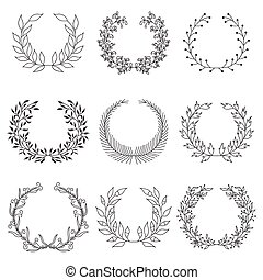 Hand drawn laurels - Set of nine hand drawn vector victory...