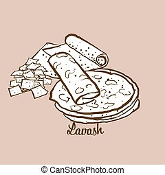 Hand-drawn Lavash bread illustration. Flatbread, usually ...