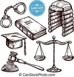 Hand Drawn Law Set - Hand drawn law symbols set with Holy...
