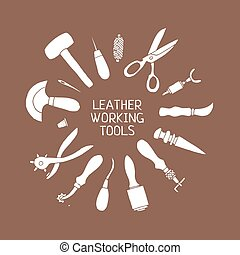 Hand drawn Leather craft tools vector illustration - Set of...