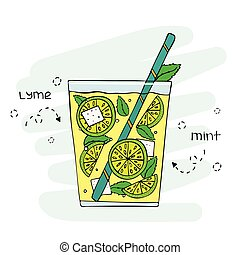 Hand-drawn lemonade illustration in a glass with segments of...