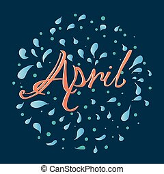 Hand drawn lettering April.