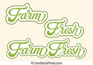 Hand drawn lettering Farm Fresh with outline and shadow. Vector Ink illustration. Typography poster on light background. Organic, natural design template for cards, invitations, prints etc.