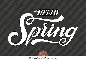 Hello spring phrase seasonal lettering ink illustration modern