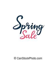 Hand drawn lettering spring sale isolated on white background