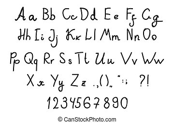 Hand drawn letters, alphabet, punctuation marks, numerals isolated on white background.