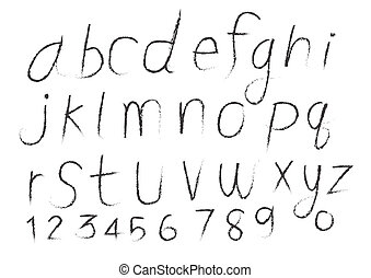 Hand drawn letters alphabet written with  brush