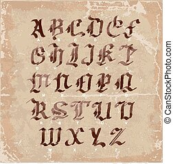 Hand drawn letters. gothic style alphabet on vintage paper. wate