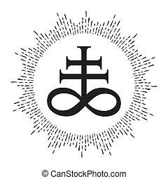 Leviathan Cross alchemical symbol - Hand drawn Leviathan...