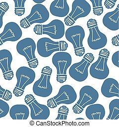 Hand Drawn Light Bulb Seamless Pattern. Vector