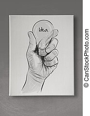 Hand drawn light bulb with IDEA word on canvas board as concept