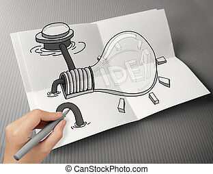 hand drawn light bulb with IDEA word on  crumpled paper poster as creative concept