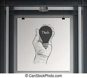 Hand drawn light bulb with THINK word on canvas board as concept