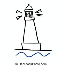 Hand drawn lighthouse doodle symbol vector scribble illustration