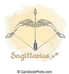 Hand drawn line art of decorative zodiac sign Sagittarius.