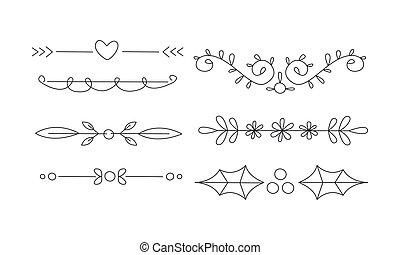Hand drawn line borders set, decorative design elements, text dividers vector Illustration