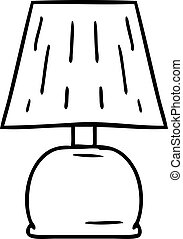 line drawing doodle of a bed side lamp