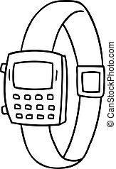 line drawing doodle of a retro watch