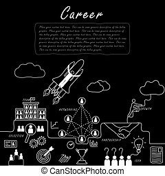 hand drawn line vector doodle of concept of career growth, company and employees in black and white