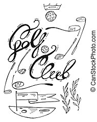 Hand drawn lined graphic illustration of golf design elements fof golf club logo.Golf course with flag,golf putter and golf ball.Golf Club handwritten lettering.