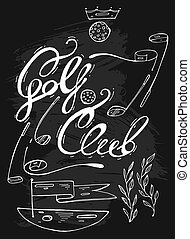 Hand drawn lined graphic illustration of golf design elements for golf club logo.Golf course with flag,golf putter and golf ball.Golf Club handwritten lettering.Design elements for golfing logo.