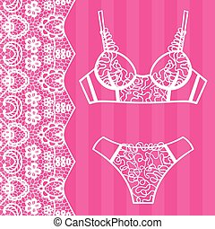 Hand drawn lingerie. Panty and bra set.