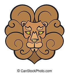 Hand Drawn Lion Coloring Page For Kids Vector Illustration