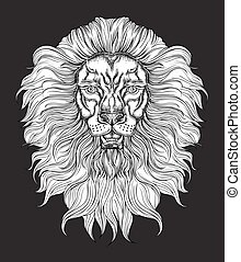 Hand drawn lion head in line art and dot work trendy style. Hipster t-shirt design. Vector animal illustration on black