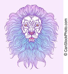 Hand drawn lion head in line art and dot work trendy style. Hipster t-shirt design. Vector animal illustration