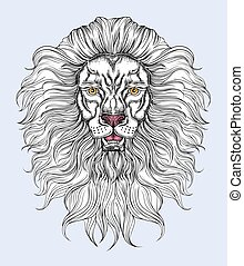 Hand drawn lion head in line art and dot work trendy style. Hipster t-shirt design. Vector animal illustration isolated
