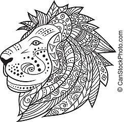 Hand drawn lion isolated on white background
