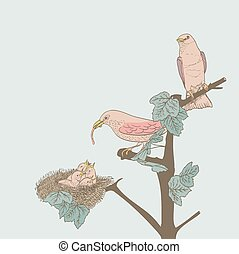 hand drawn little birds feeding their young in the nest