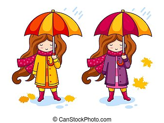 Hand drawn little girl with colorful umbrella and a big knitted scarf.